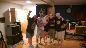 Producer Dik Ledoux and bassist Brian Costner with Blaine and Ruyter from Nashville Pussy